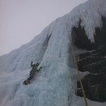 Pete Cutler ice climbing