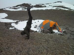 Handstand at 5500 meters