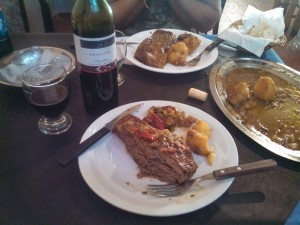 First meal off the mountain.  Steak and wine.